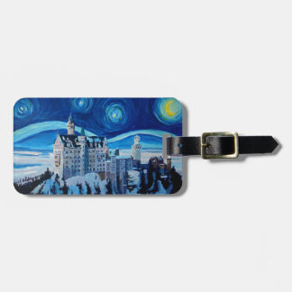 Starry Night with Romantic Castle Van Gogh inspire Bag Tag