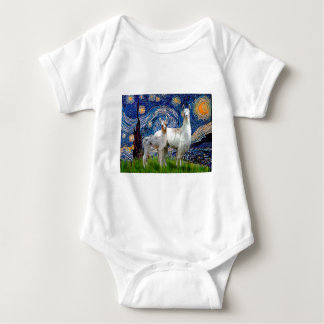 Starry Night with Two Llamas Baby Bodysuit
