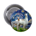 Starry Night with Two Llamas Button