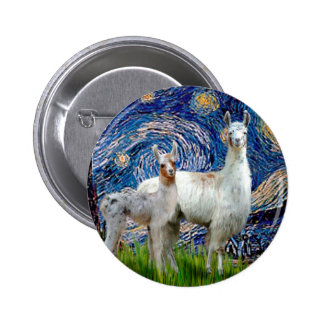 Starry Night with Two Llamas 2 Inch Round Button