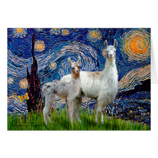 Starry Night with Two Llamas Greeting Card