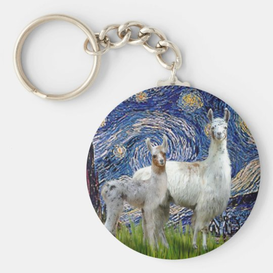 Starry Night with Two Llamas Keychain