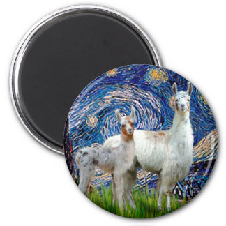 Starry Night with Two Llamas 2 Inch Round Magnet