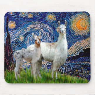 Starry Night with Two Llamas Mouse Pad