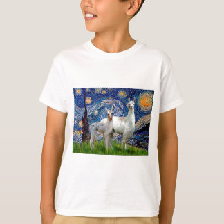 Starry Night with Two Llamas T-Shirt