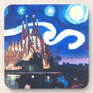 Starry nights at Sagrada Familia in Barcelona Beverage Coaster