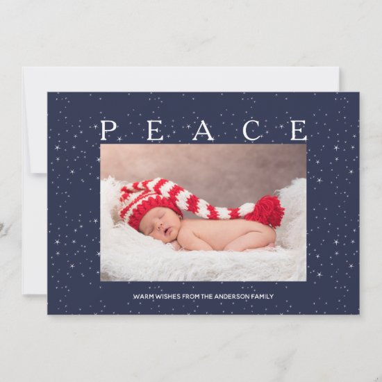 Starry Peace on Navy Blue Christmas Holiday Photo
