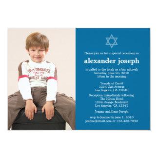 "Starry Photo Bar Mitzvah Invitation 5"" X 7"" Invitation Card"