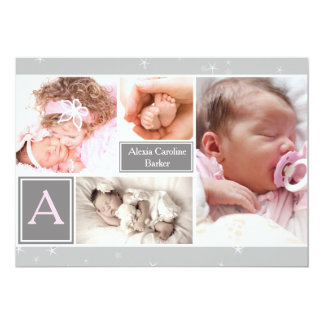 Starry Photo Collage Birth Announcement