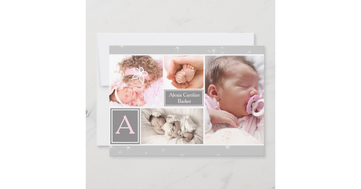 Starry Photo Collage Birth Announcement/Holiday Holiday Card ...