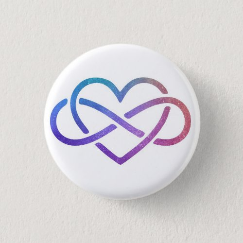 Starry Polyamory Infinity Heart Button Pin