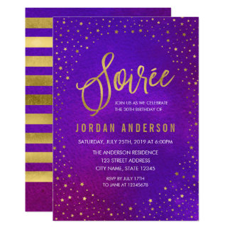 Starry Purple Watercolor Soiree Birthday Card