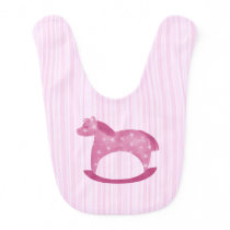 Starry Rocking Horse on Pink Stripes Baby Bib