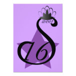 Starry Sepia Swan Sweet Sixteen -Customize 5x7 Paper Invitation Card