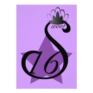 Starry Sepia Swan Sweet Sixteen -Customize Custom Invitations