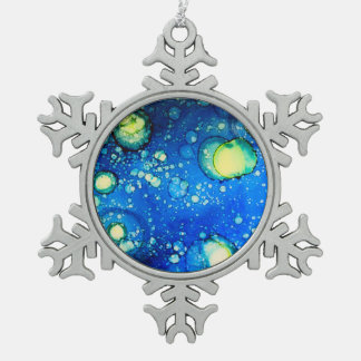 Starry Sky Alcohol Ink Painting Snowflake Pewter Christmas Ornament