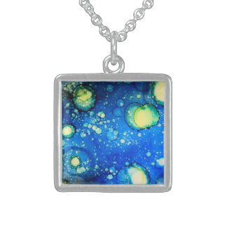 Starry Sky Alcohol Ink Painting Sterling Silver Necklace