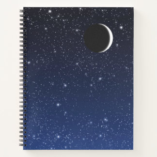 Starry Sky and Crescent Moon, Deep Blue to Black Notebook