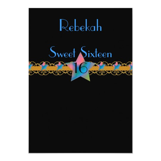 Starry Sky Belted Sweet Sixteen Invitation!-Cust. Card