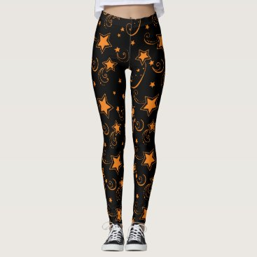 Halloween Themed Starry Sky Black Gold Star Leggings