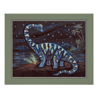 Starry Sky - Brachiosaurus. Kids Wall Art Print