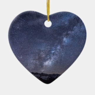 Starry Sky Double-Sided Heart Ceramic Christmas Ornament