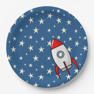 Starry Sky Fat Rocket Ship Paper Plate