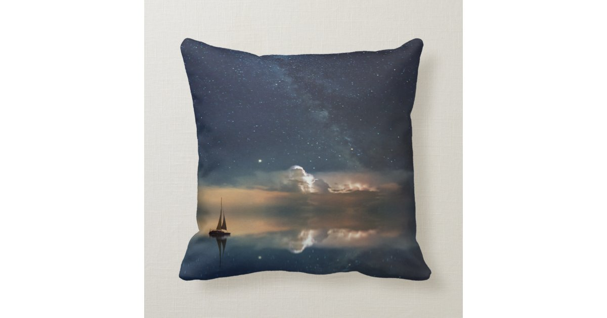 Starry Sky Ocean With Lonely Boat Throw Pillow | Zazzle.com