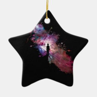 Starry sky painter supernova space star 02 Double-Sided star ceramic christmas ornament