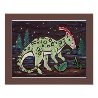 Starry Sky - Parasaurolophus. Kids Wall Art Print