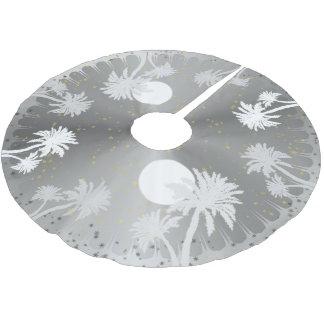 starry sky silver palm trees christmas tree skirt - Silver Christmas Tree Skirt