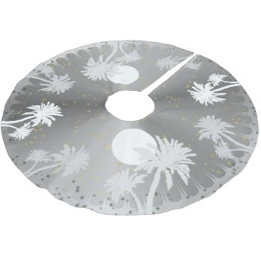 Christmas Themed Starry Sky Silver Palm Trees Christmas Tree Skirt