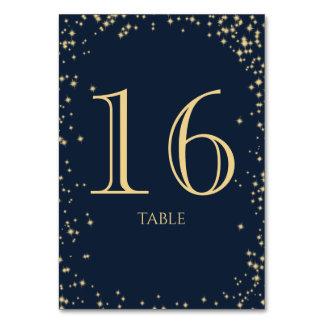 Starry Sky Sparkle Navy Blue Table Number Card