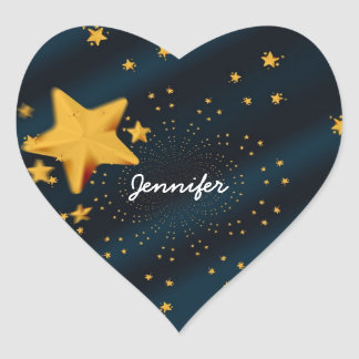 Starry Sky Text Template, Ready to Customize Heart Sticker