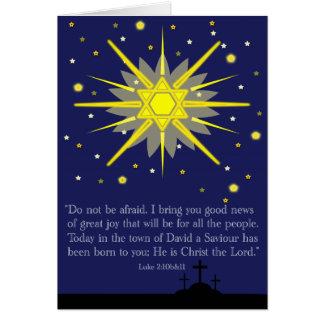 starry sky with luke 2:10-11 greeting card