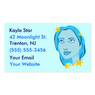 Starry Star Girl Blue Business Cards