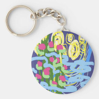 Starry Starry Flowers by Carole Tomlinson Keychains