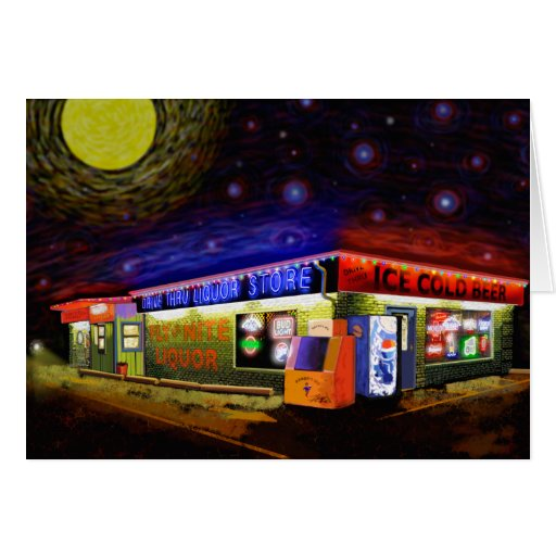 Starry,Starry Fly by night Drive Thru Liquor Store Greeting Cards