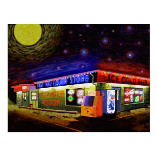 Starry,Starry Fly by night Drive Thru Liquor Store Postcard