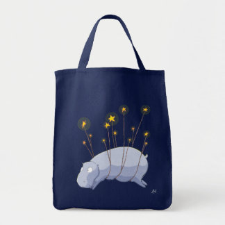 Starry Starry Hippo Grocery Tote Tote Bag