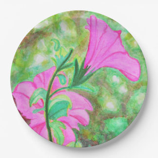 Starry, starry morning glory watercolor paper plate