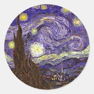Starry Starry Night art painting artist Van Gogh Classic Round Sticker
