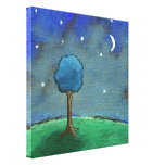 Starry Starry Night, Whimsical Tree Landscape Art Canvas Prints