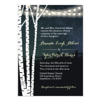 Starry String Light Birch Tree Wedding Invitations