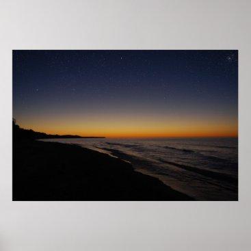 Beach Themed Starry Sunset Poster