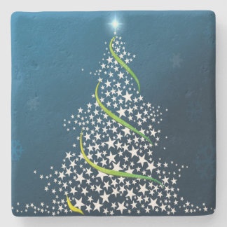 Starry Swirling Christmas Tree on Blue Stone Coaster