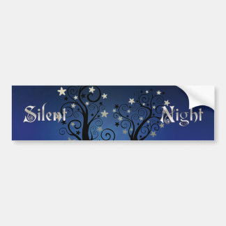 Starry Trees Silent Night Bumper Sticker