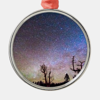 Starry Universe Round Metal Christmas Ornament