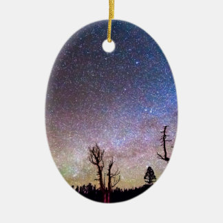 Starry Universe Double-Sided Oval Ceramic Christmas Ornament