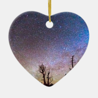 Starry Universe Double-Sided Heart Ceramic Christmas Ornament